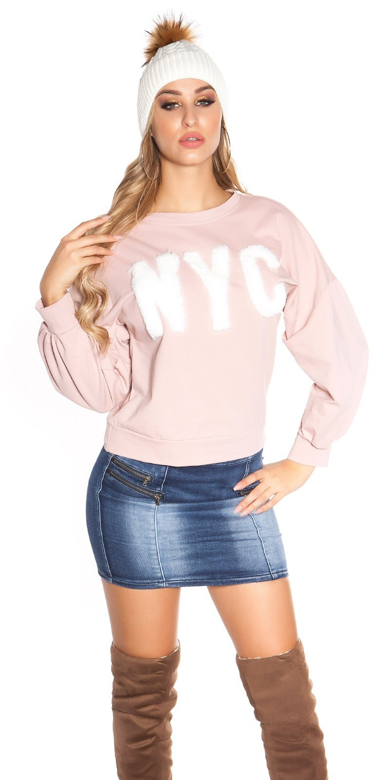 Trendy ronde hals trui nyc roze