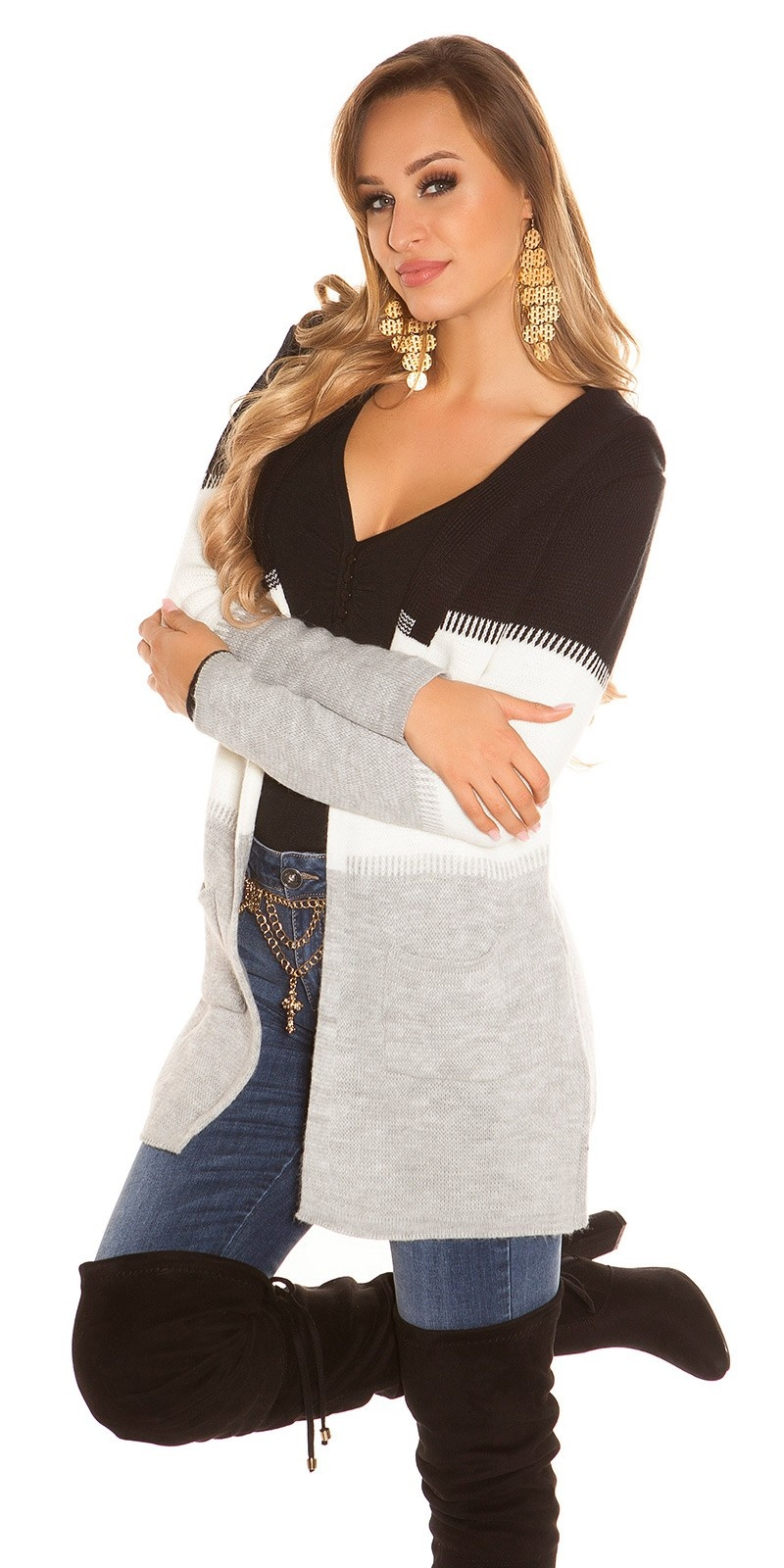Trendy KouCla hooded cardigan striped Black