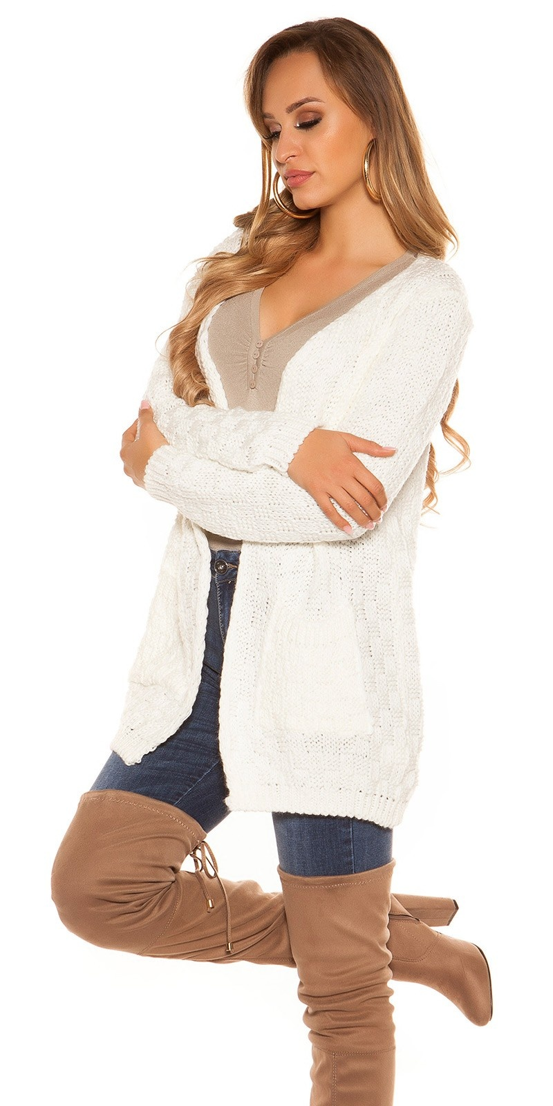 Trendy KouCla Chunky knit Cardigan White