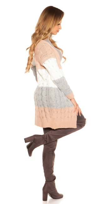 Trendy KouCla cable knit cardigan Antiquepink