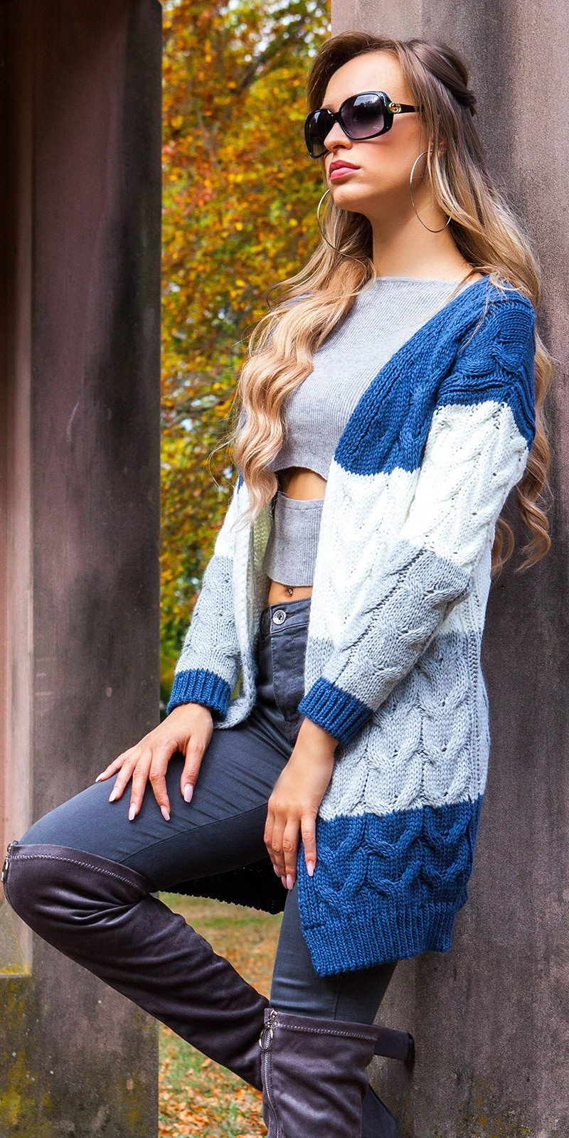 Trendy KouCla cable knit cardigan Blue