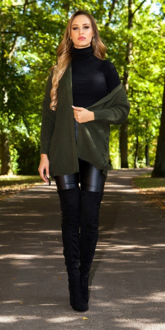 Sexy KouCla cardigan with lacing Khaki