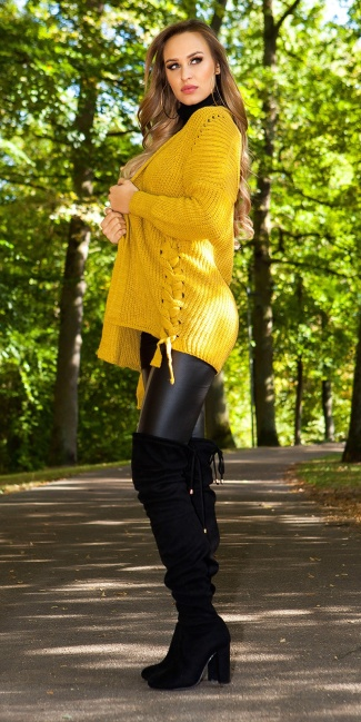 Sexy KouCla cardigan with lacing Mustard