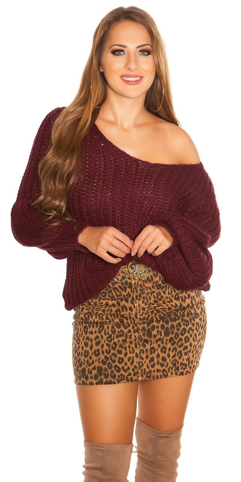 Sexy oversized grof gebreide sweater-trui bordeaux