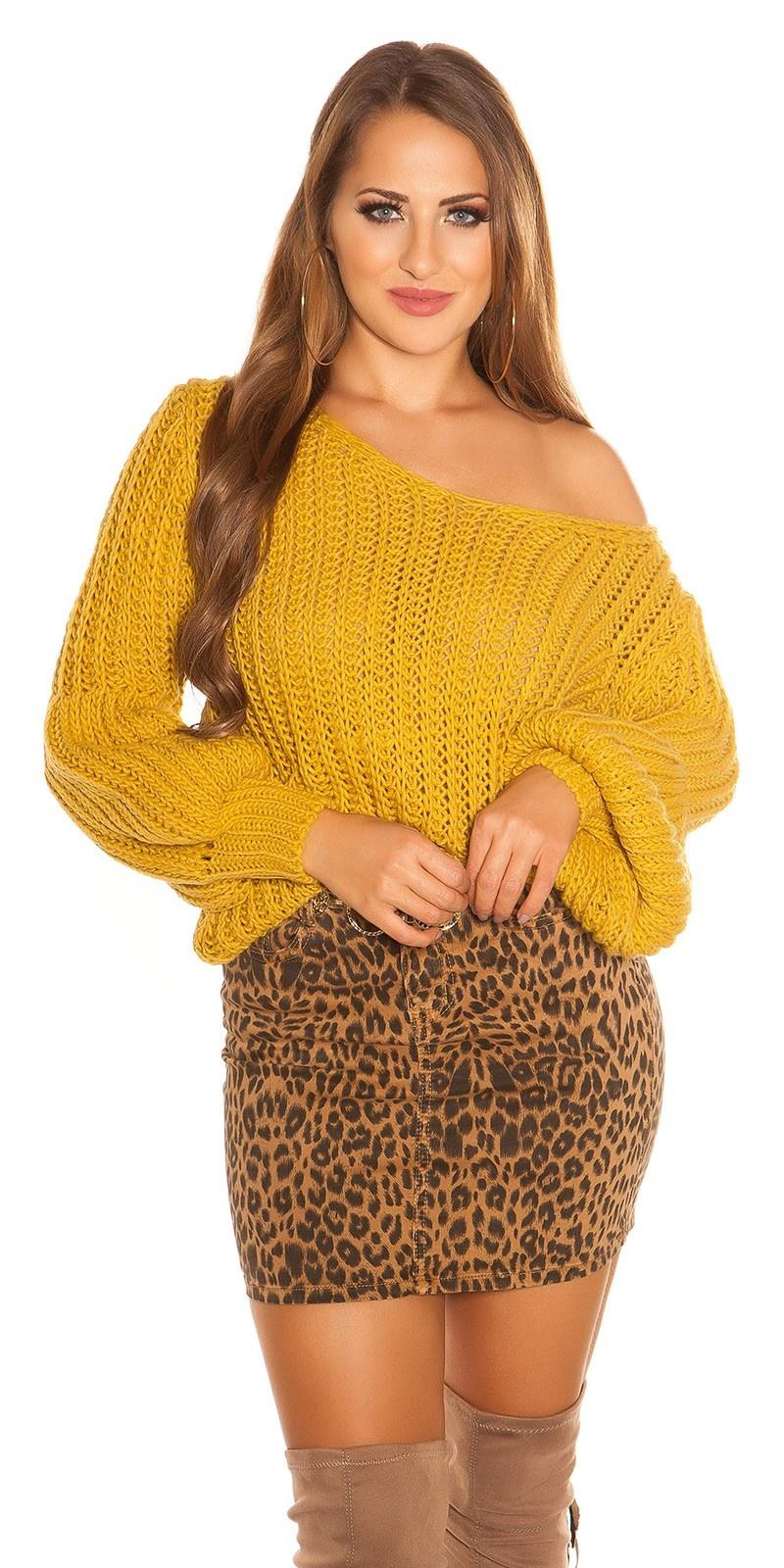 Sexy oversized grof gebreide sweater-trui mosterdgeel