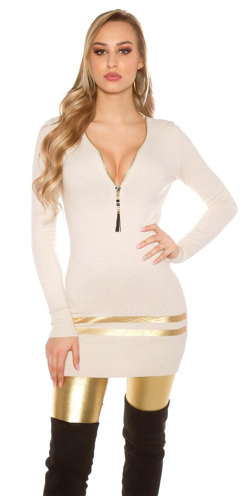 Sexy lange pullover/mini jurkje met gouden strepen beige