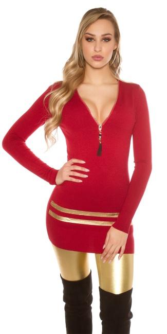 9b3bd535a099b Sexy Longpullover Minidress w. golden stripes Bordeaux ...