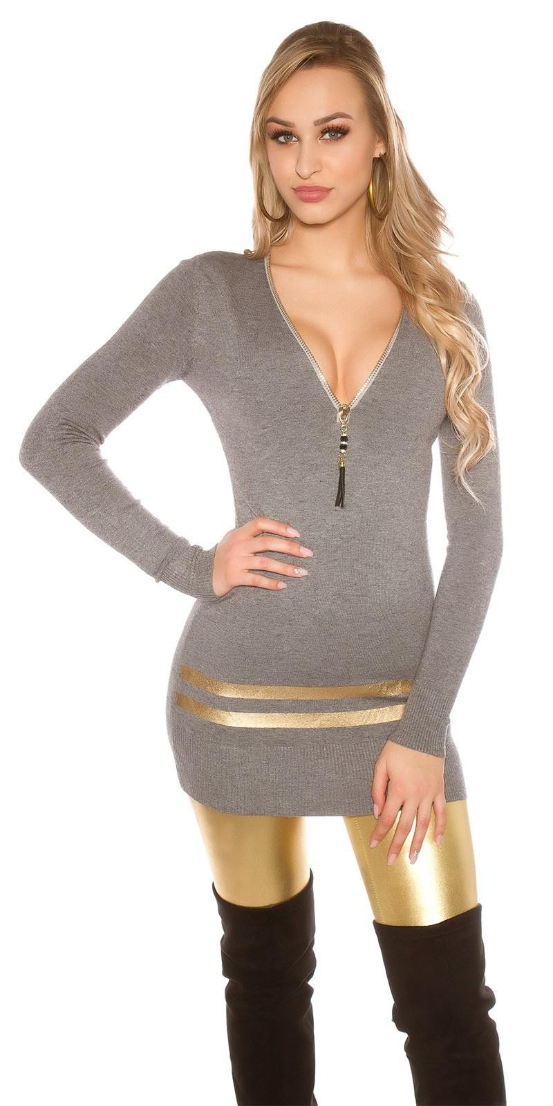 Sexy lange pullover/mini jurkje met gouden strepen grijs