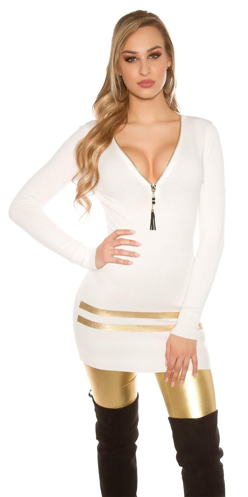 Sexy lange pullover/mini jurkje met gouden strepen wit