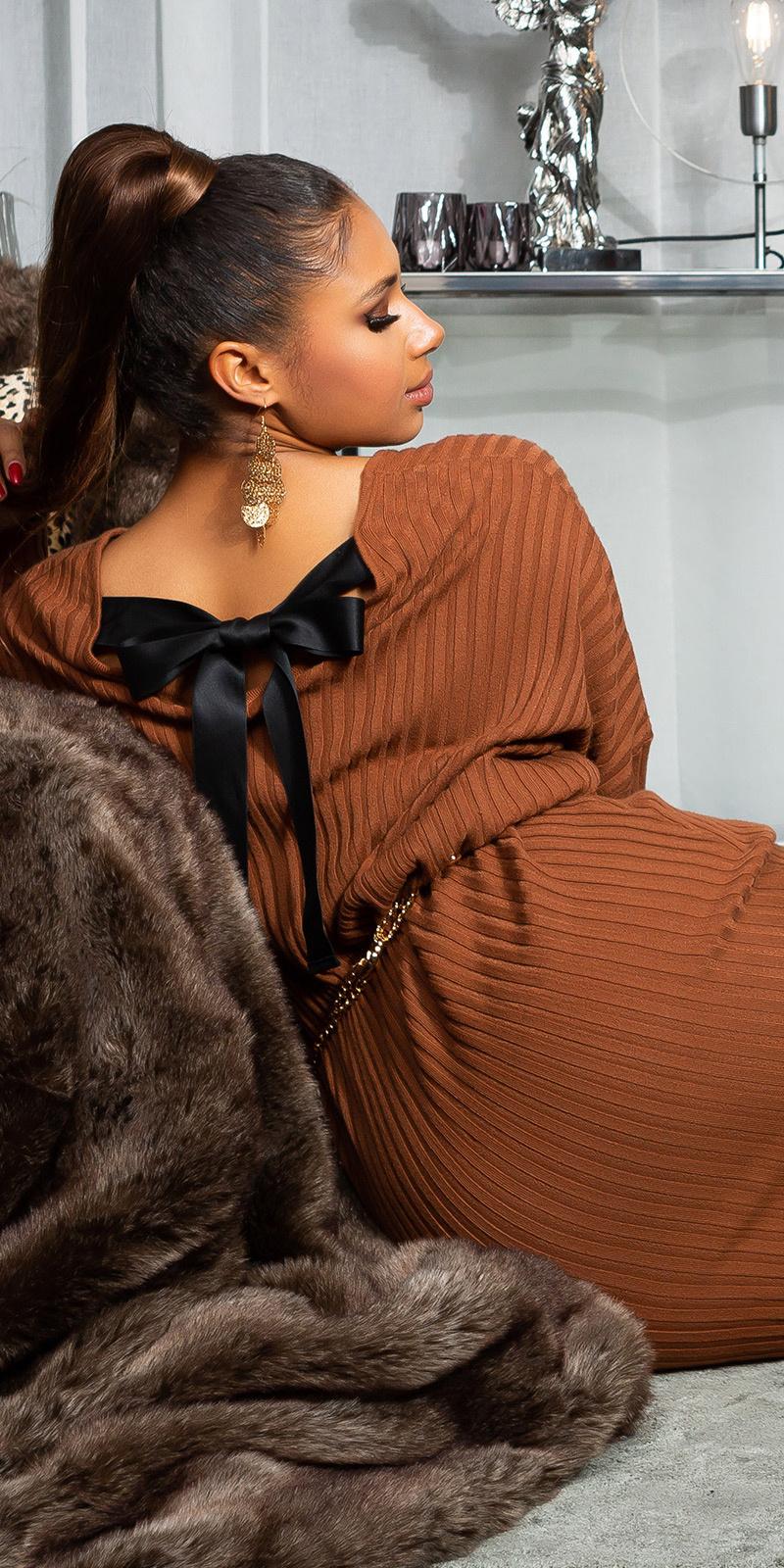 Sexy oversized gebreide jurk met lint om vast te binden bruin