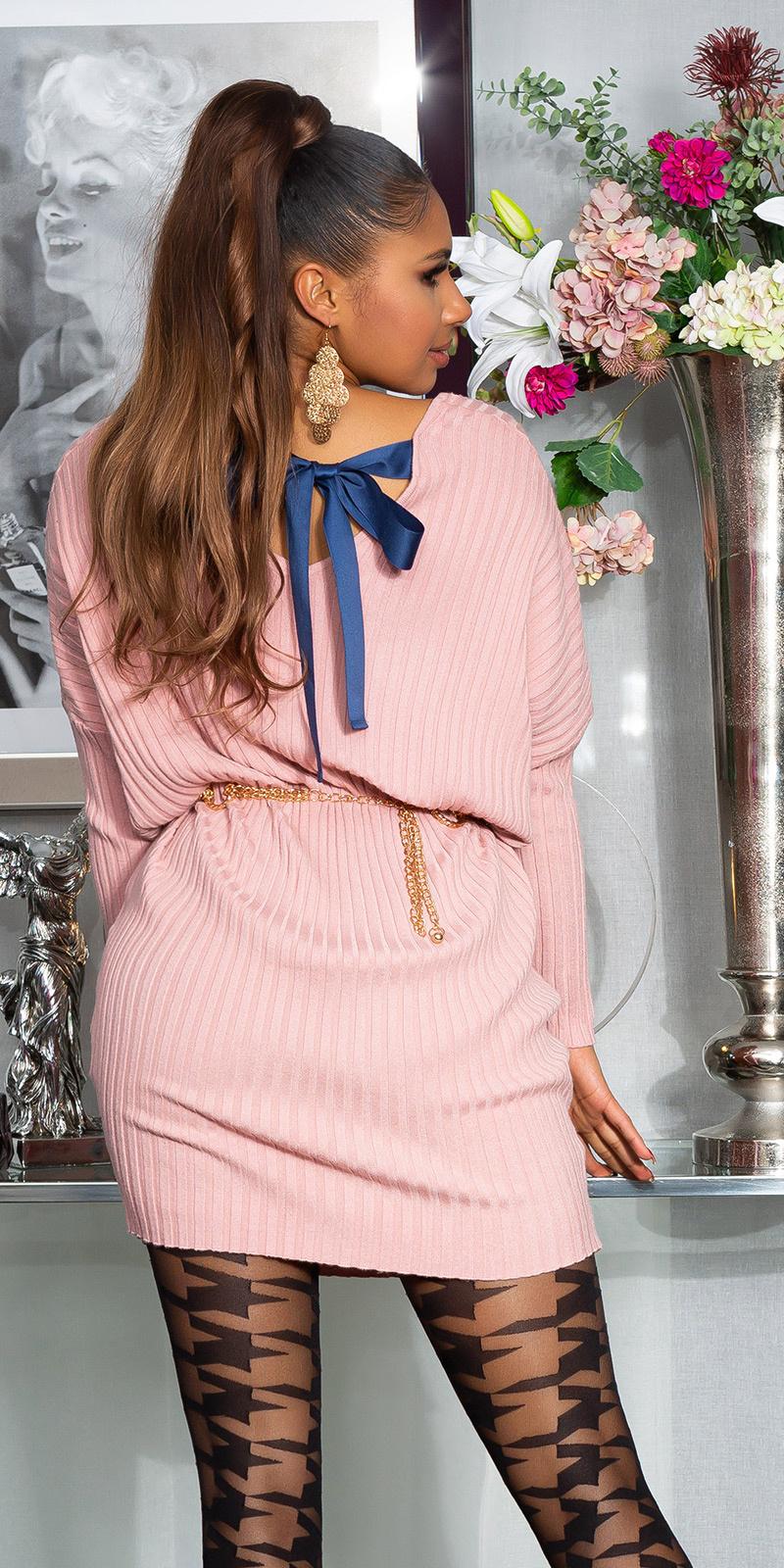 Sexy oversized gebreide jurk met lint om vast te binden rose