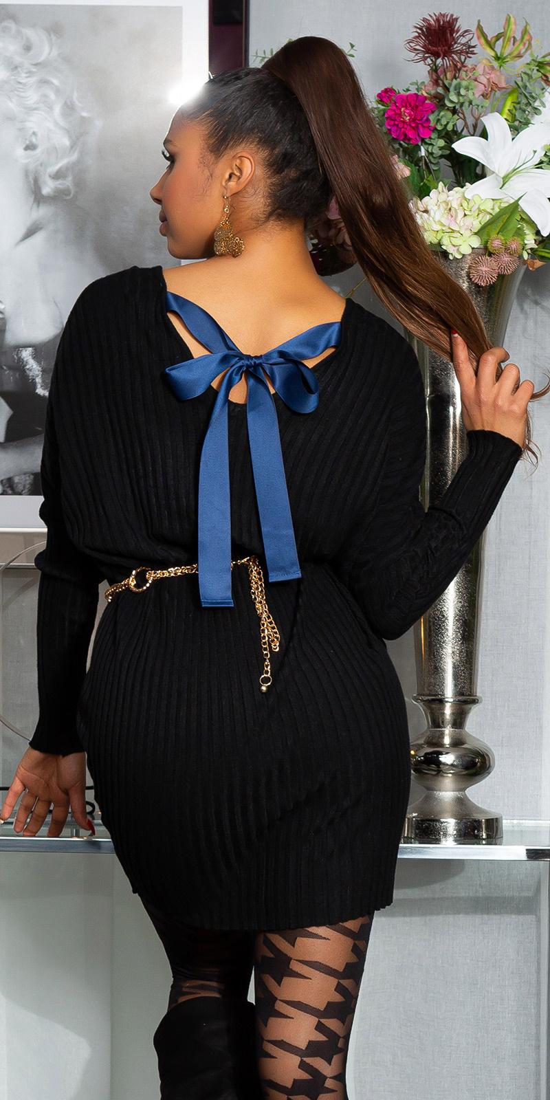 Sexy oversized gebreide jurk met lint om vast te binden zwart