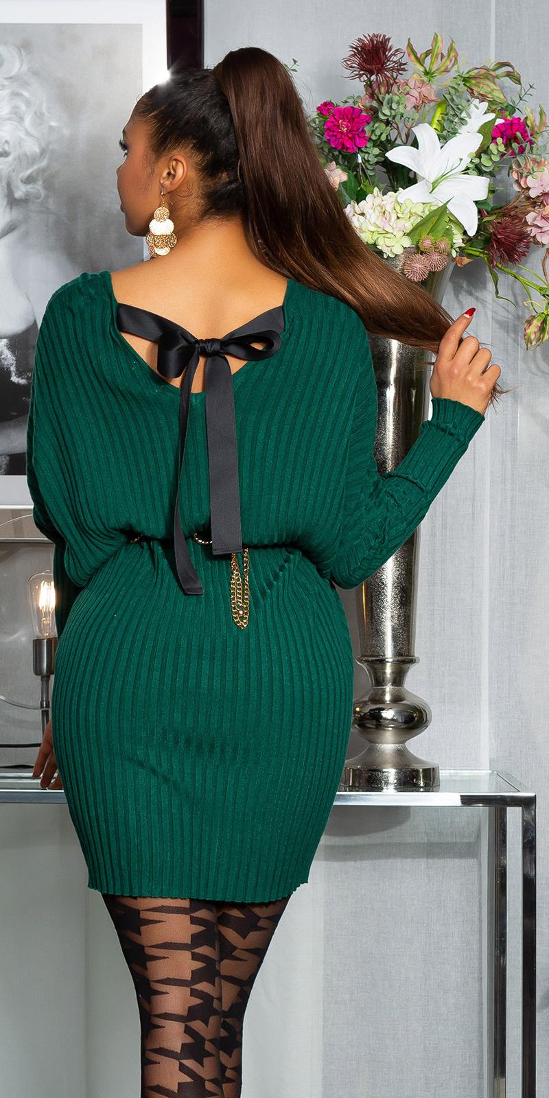 Sexy oversized gebreide jurk met lint om vast te binden groen
