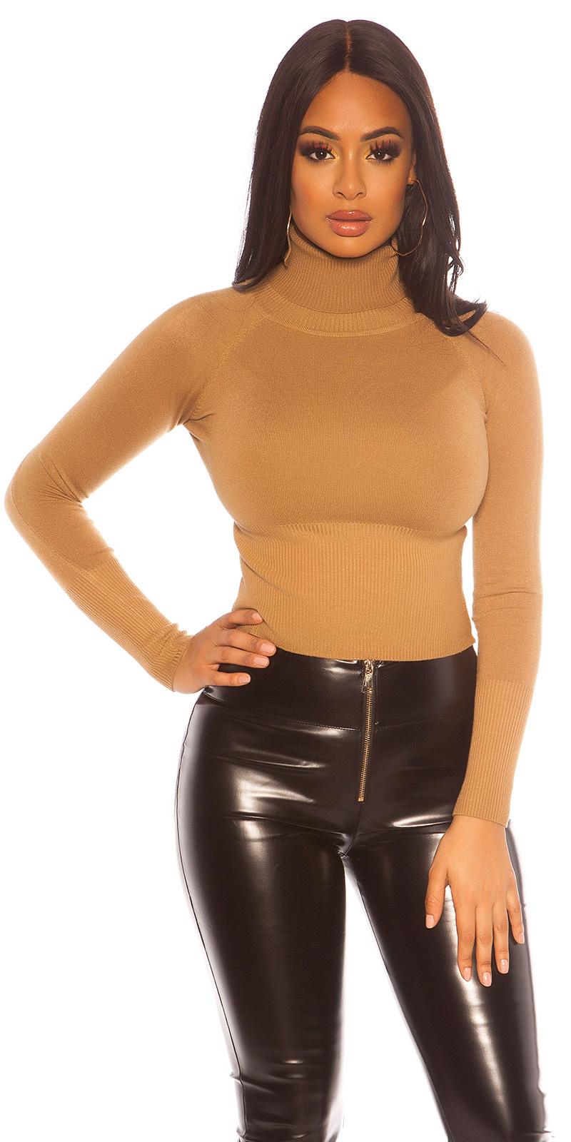 Sexy crop col sweater-trui bruin
