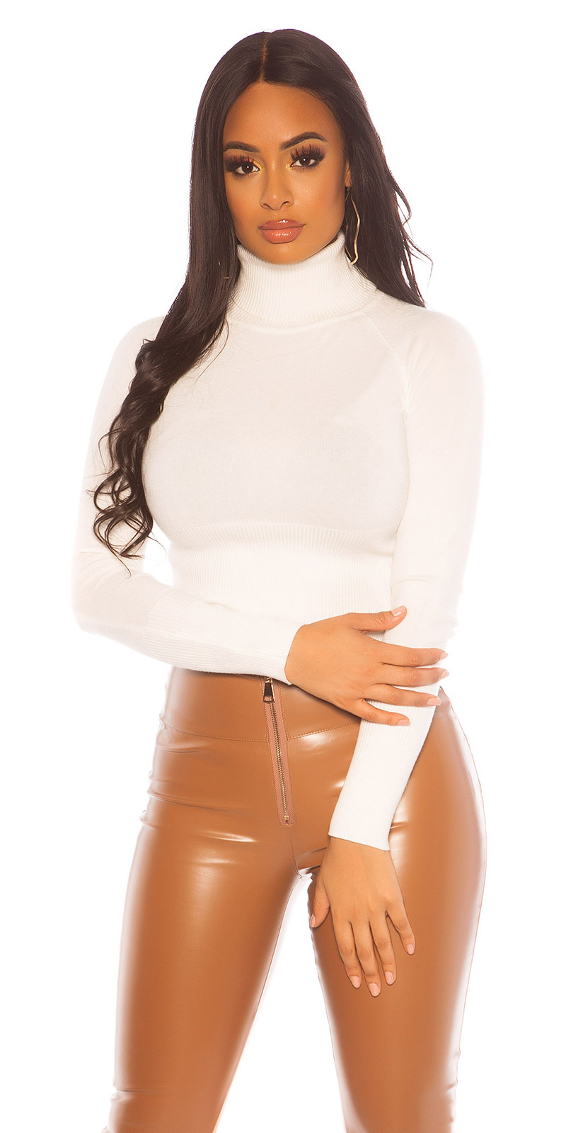 Sexy crop col sweater-trui wit