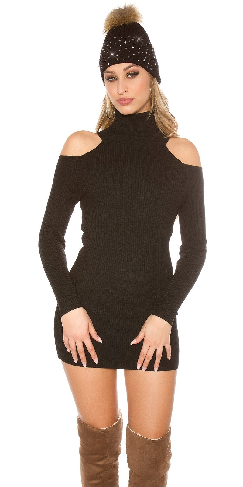 Sexy Turtleneck Longpullover/Minidress w. CutOuts Black