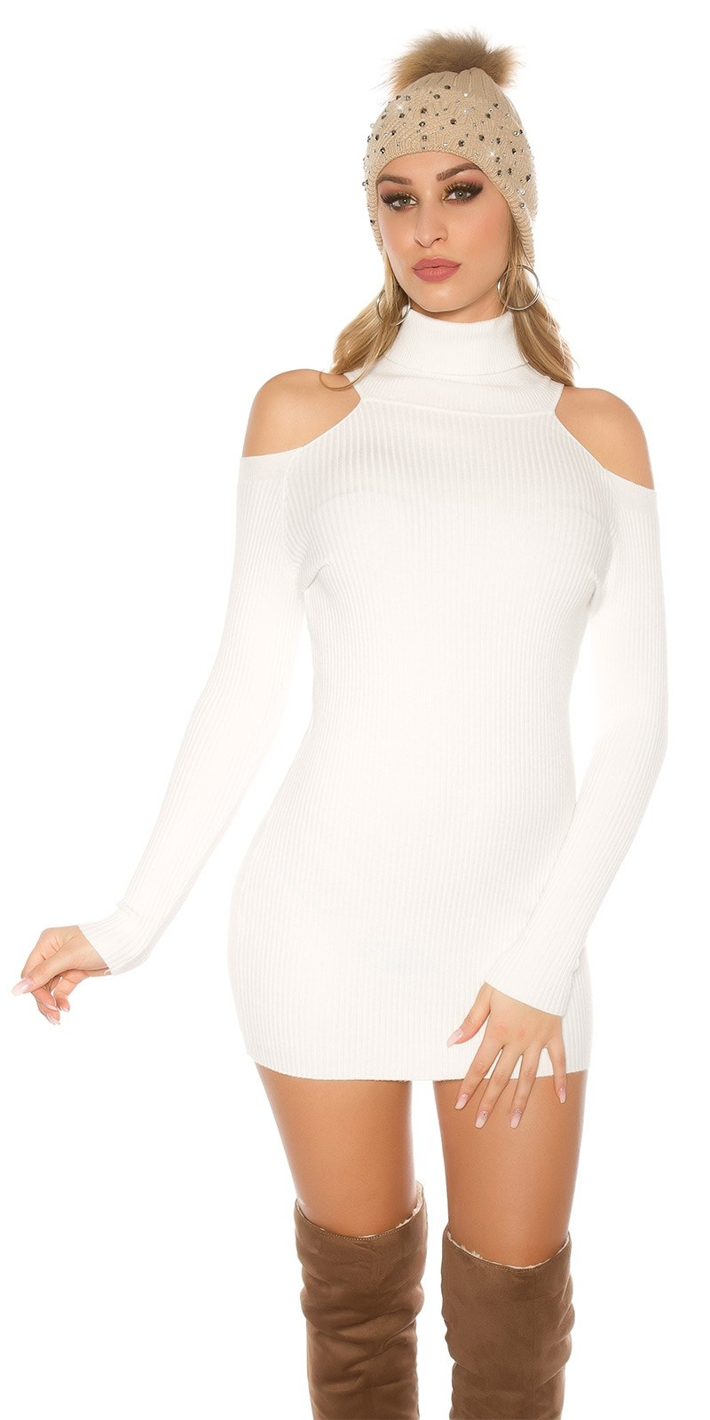 Sexy Turtleneck Longpullover/Minidress w. CutOuts White