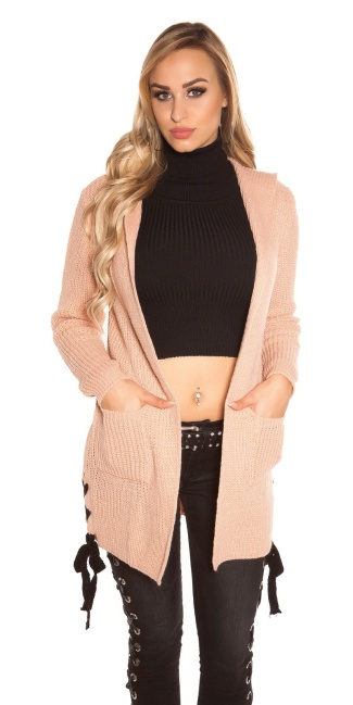 Trendy Koucla rough knit cardigan w.hoodie&lacing Antiquepink