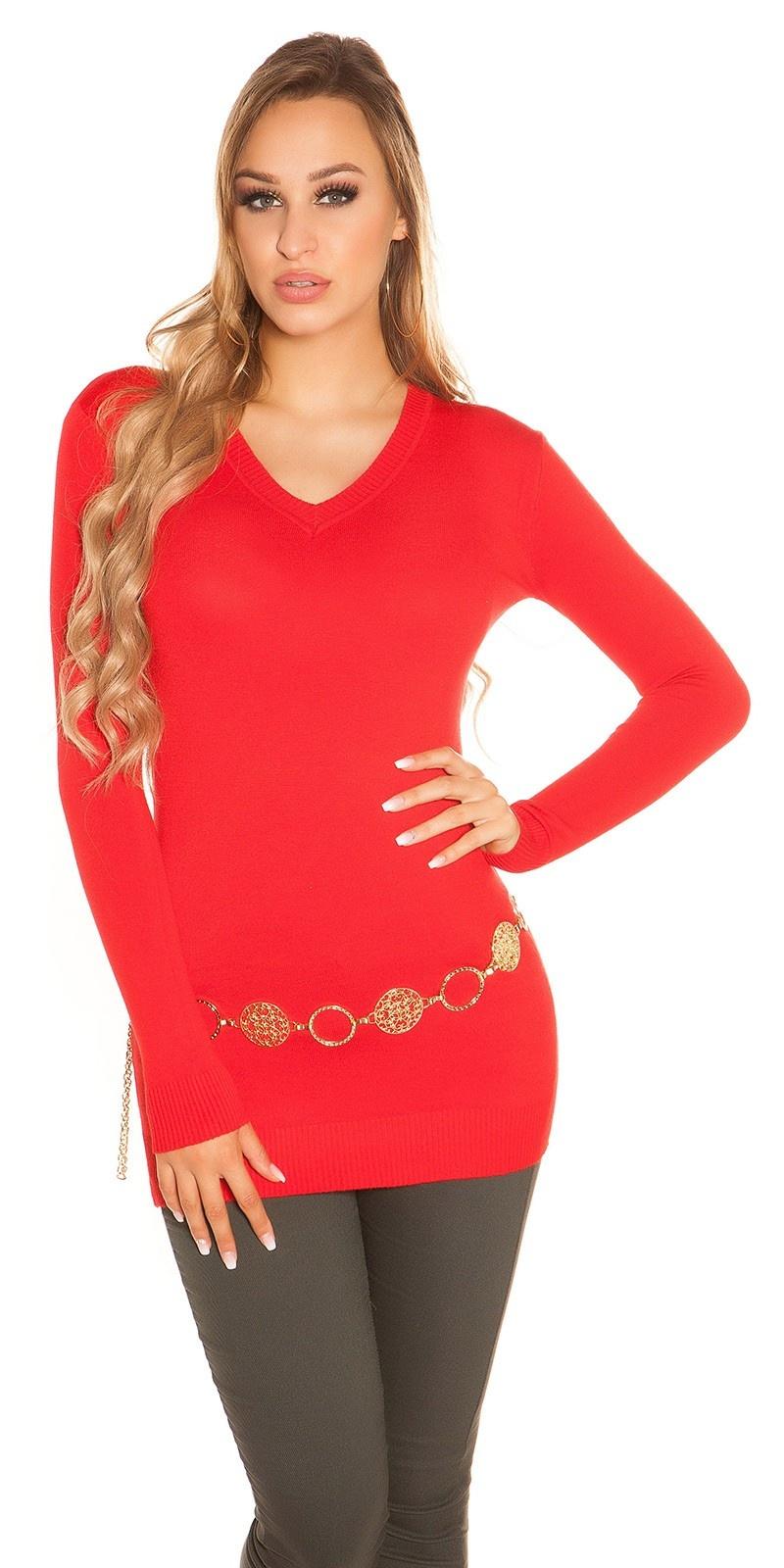 Trendy basic v-hals lange trui rood