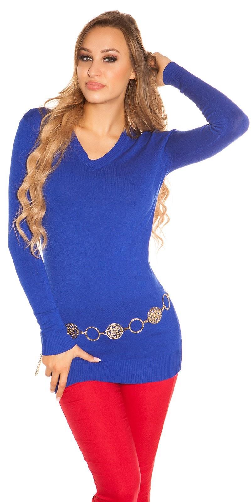 Trendy basic v-hals lange trui koningsblauw