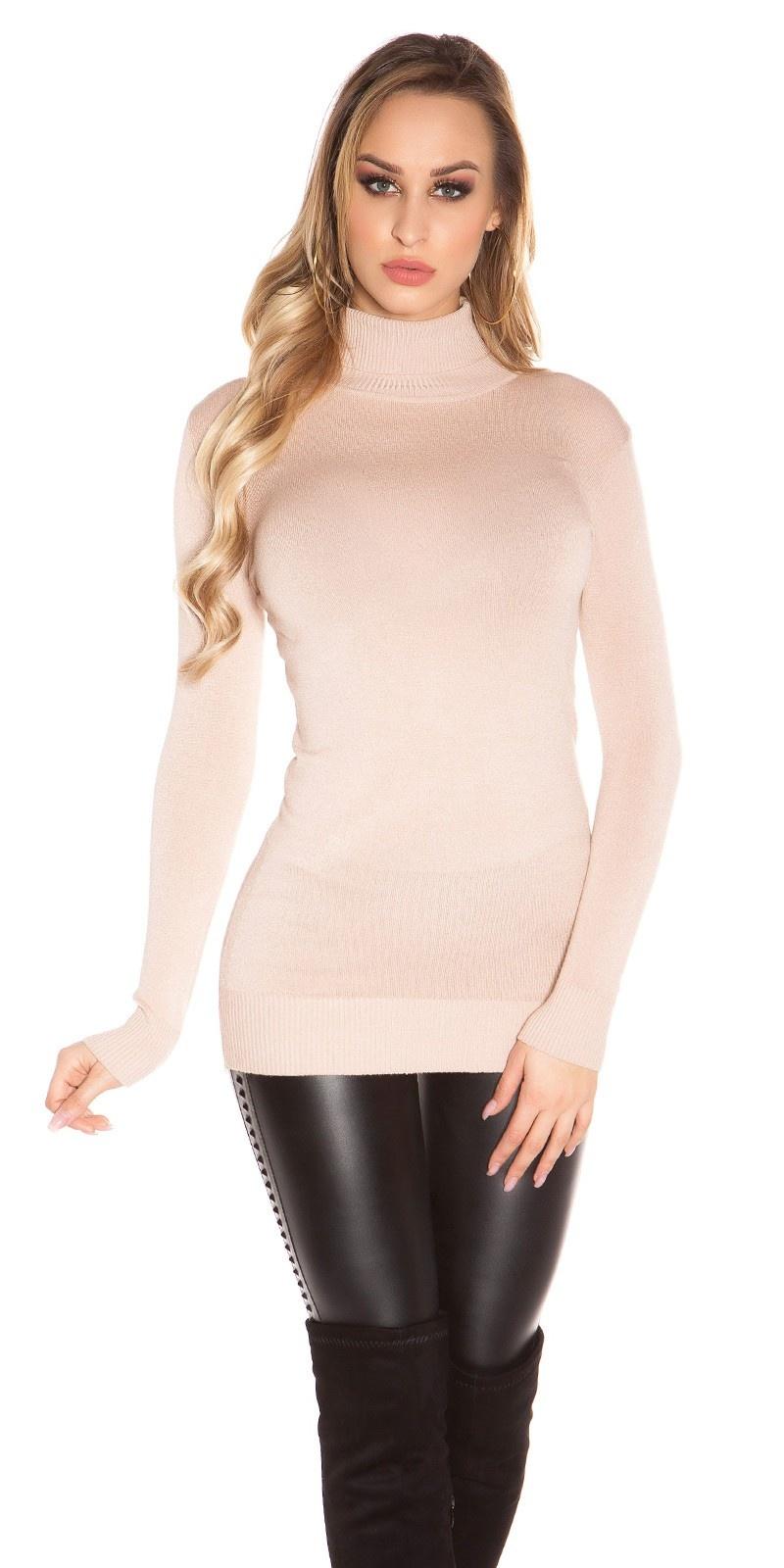 Sexy turtleneck longsweater Beige
