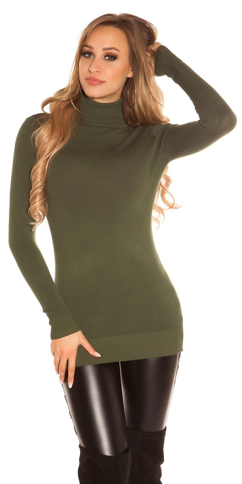 Sexy col lange sweater-trui khaki
