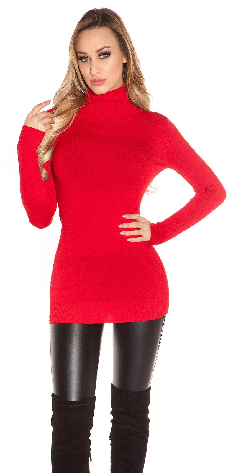 Sexy col lange sweater-trui rood