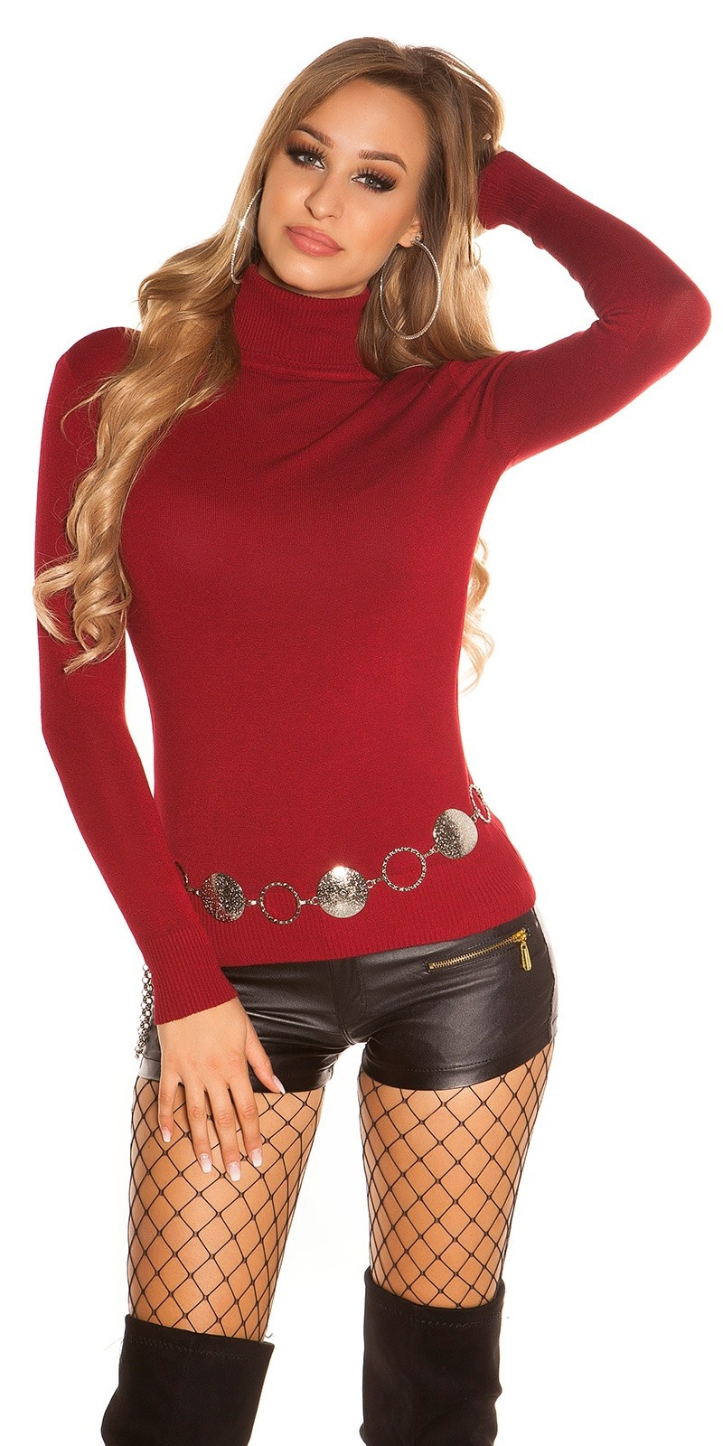 Trendy Basic Turtleneck Pullover Bordeaux