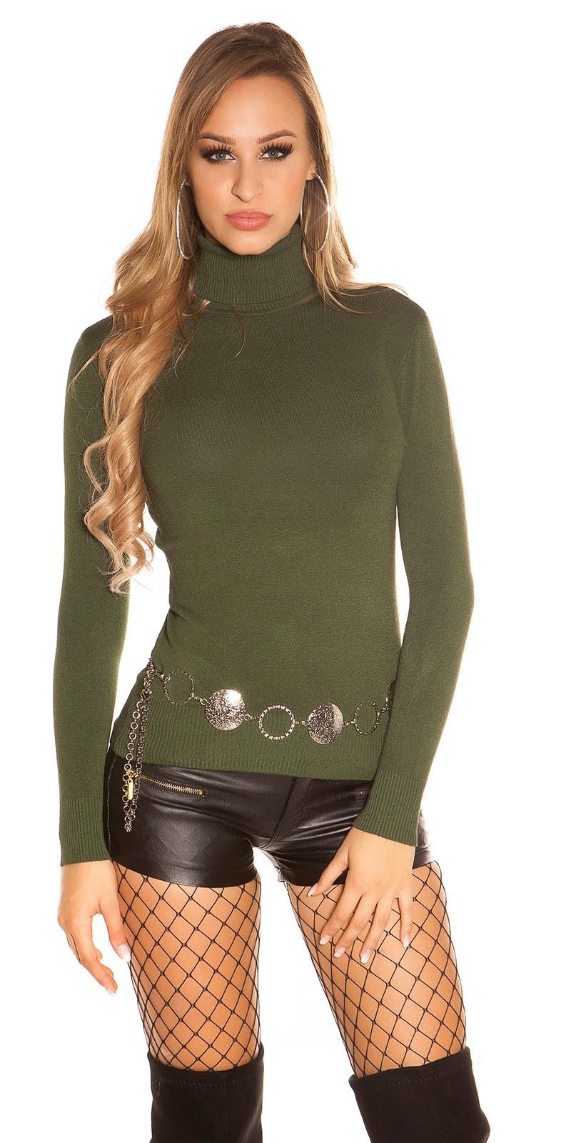 Trendy basic col pullover khaki