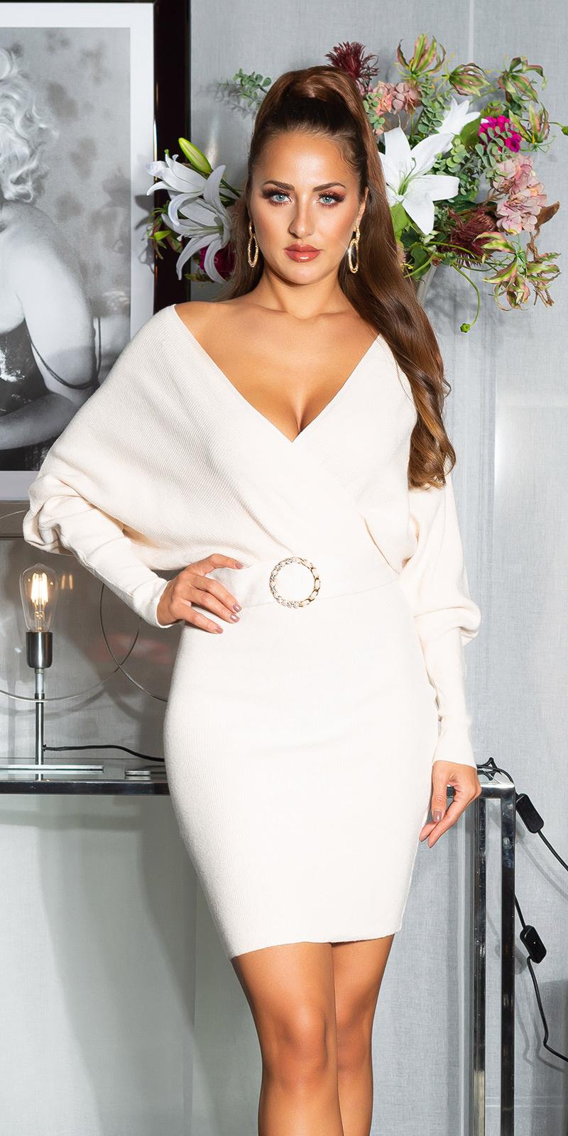Sexy v-halter gebreide jurk met decoratieve gesp beige