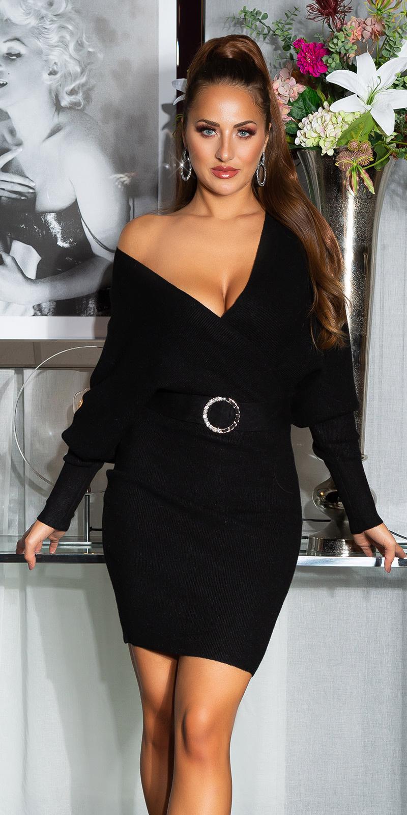 Sexy v-halter gebreide jurk met decoratieve gesp zwart