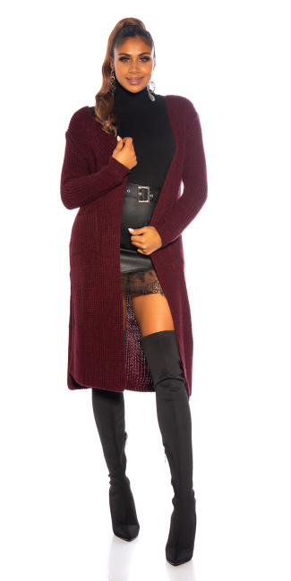 Trendy Koucla Long knit jacket with pockets Bordeaux