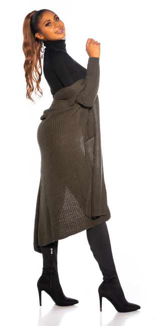 Trendy Koucla Long knit jacket with pockets Khaki