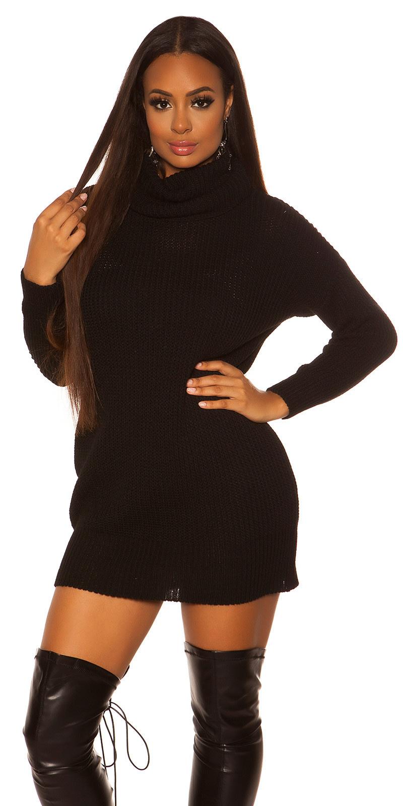 Sexy oversize gebreide jurk zwart