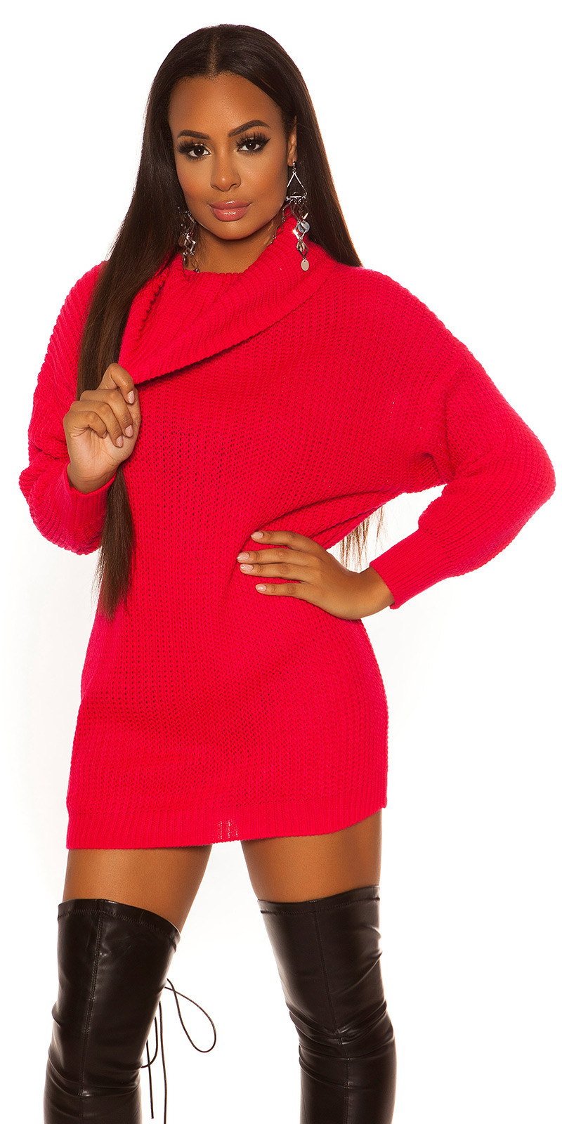 Sexy oversize knit dress Neonfuchsia
