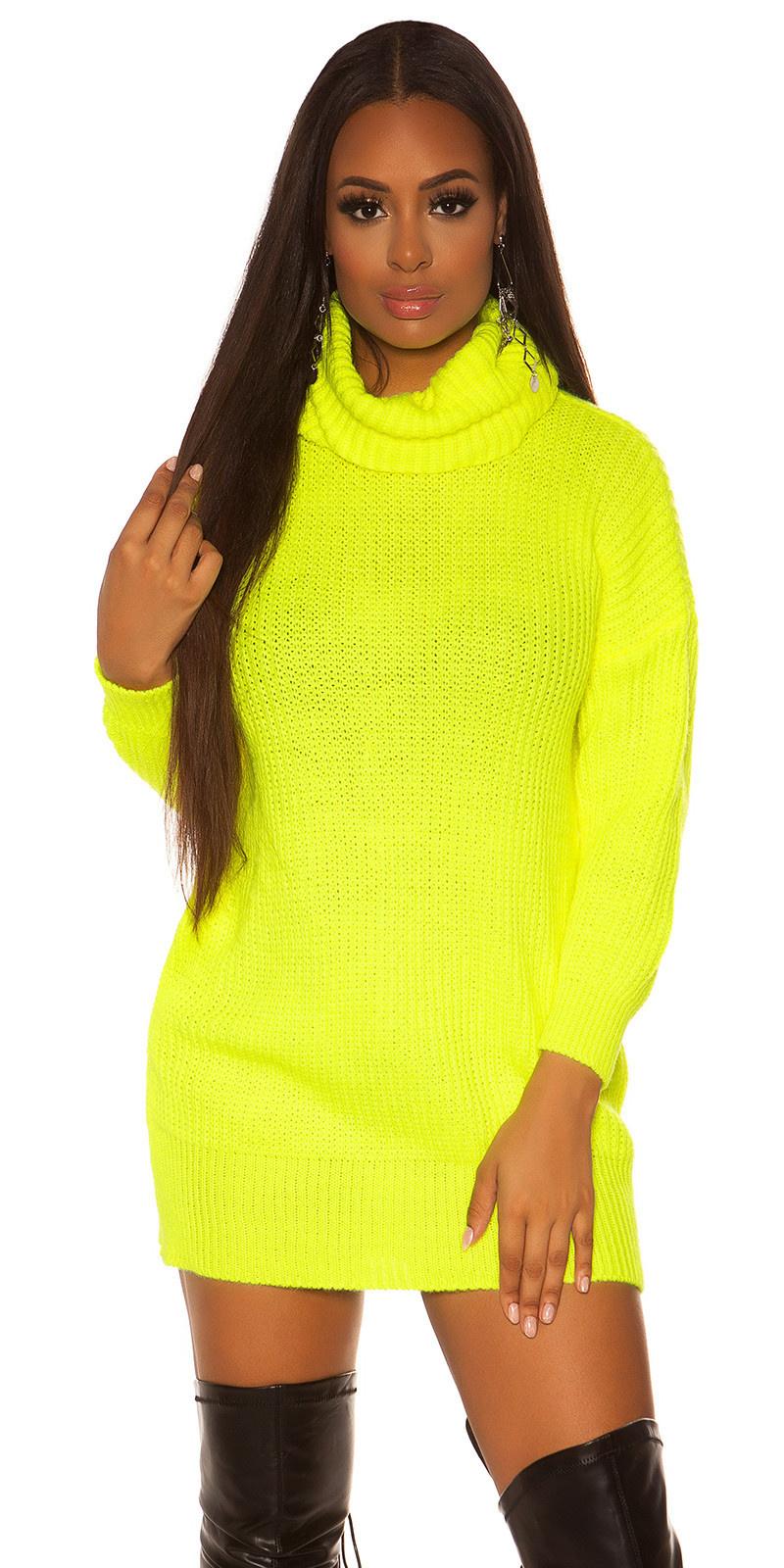 Sexy oversize gebreide jurk neongeel