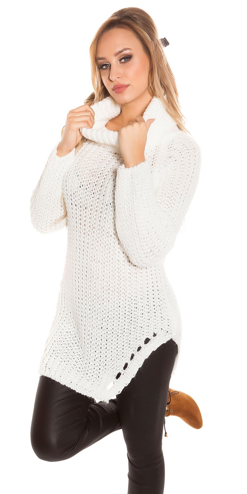 Trendy col sweater-trui wit