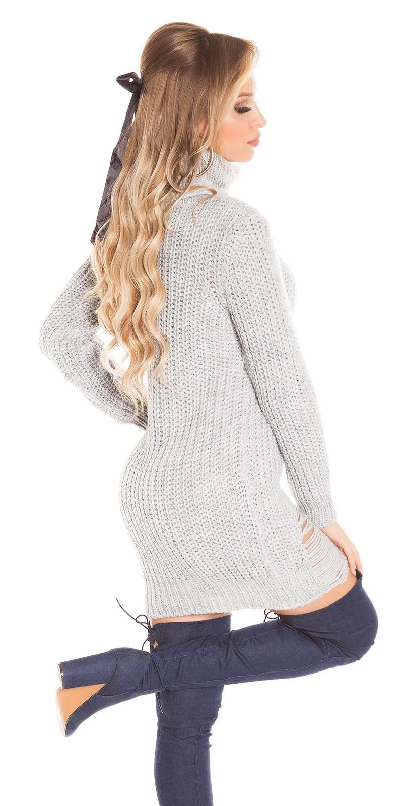 Trendy col gebreide jurk gebruikte used look grijs