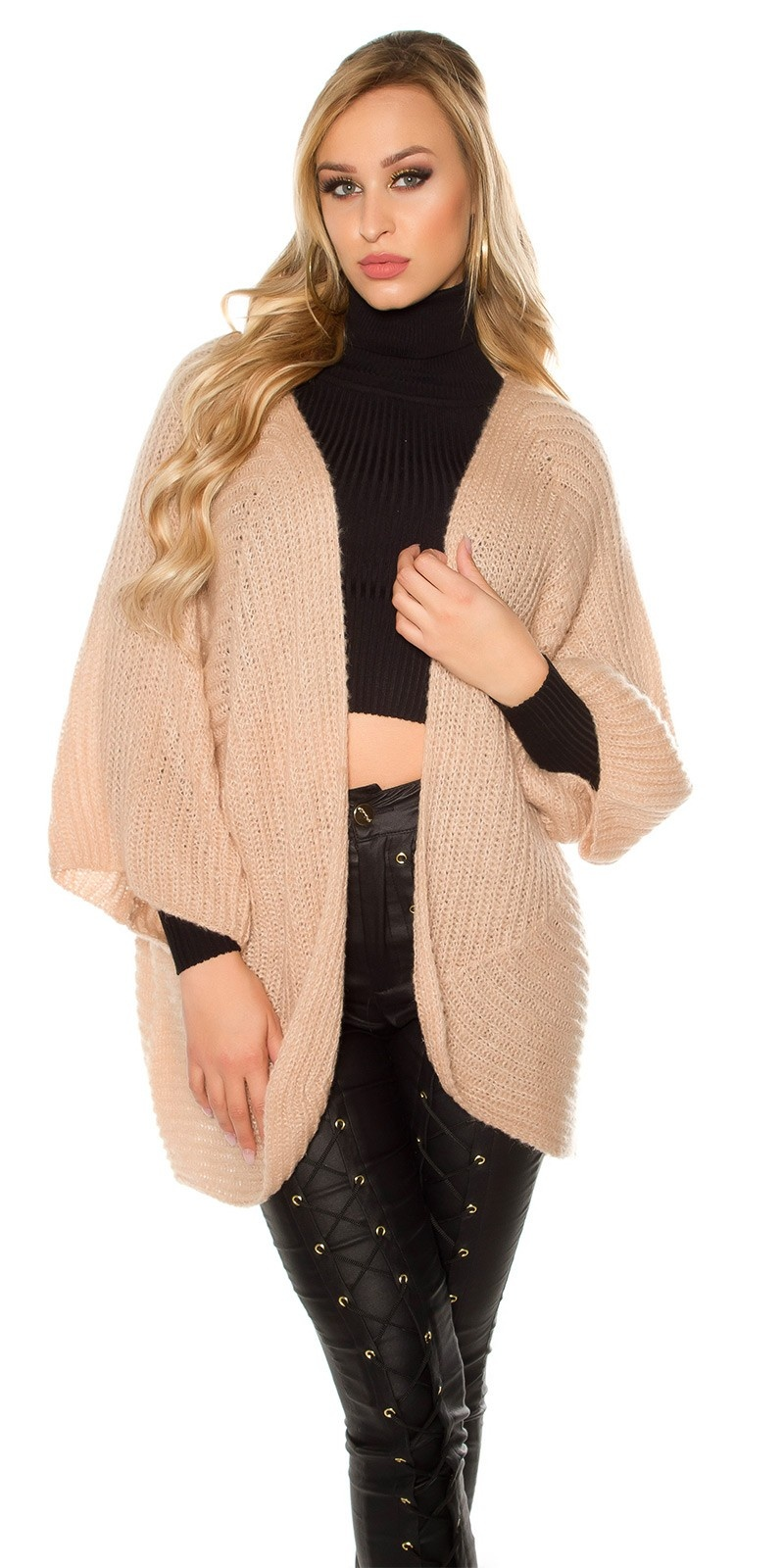 Trendy XXL loose knit jacket Antiquepink