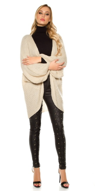 Trendy XXL loose knit jacket Beige