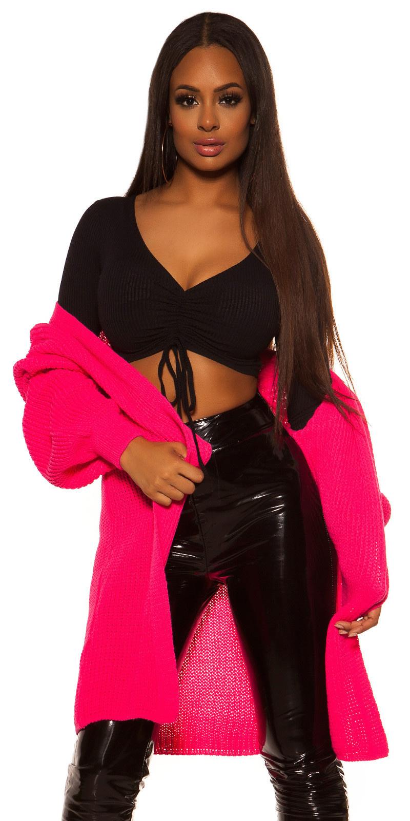 Trendy chunky knit jacket Fuchsia