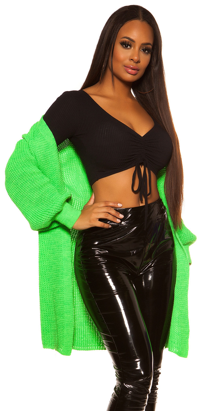 Trendy chunky knit jacket Neongreen