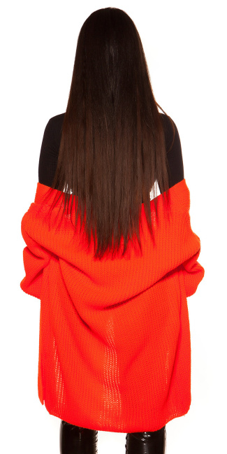 Trendy chunky knit jacket Neonorange