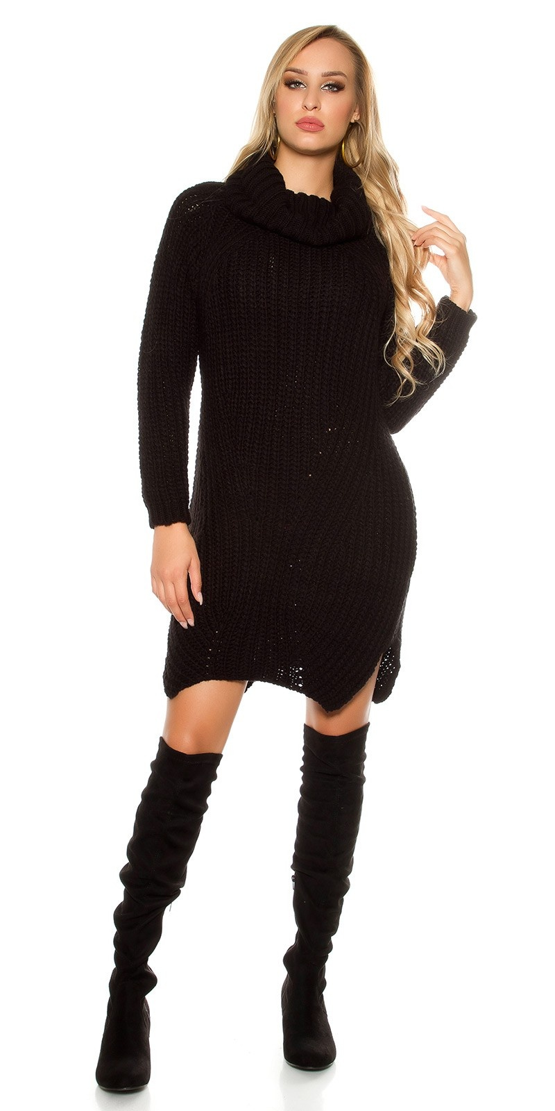Sexy XL turtleneck chunky knit mohair XL Pullover Black