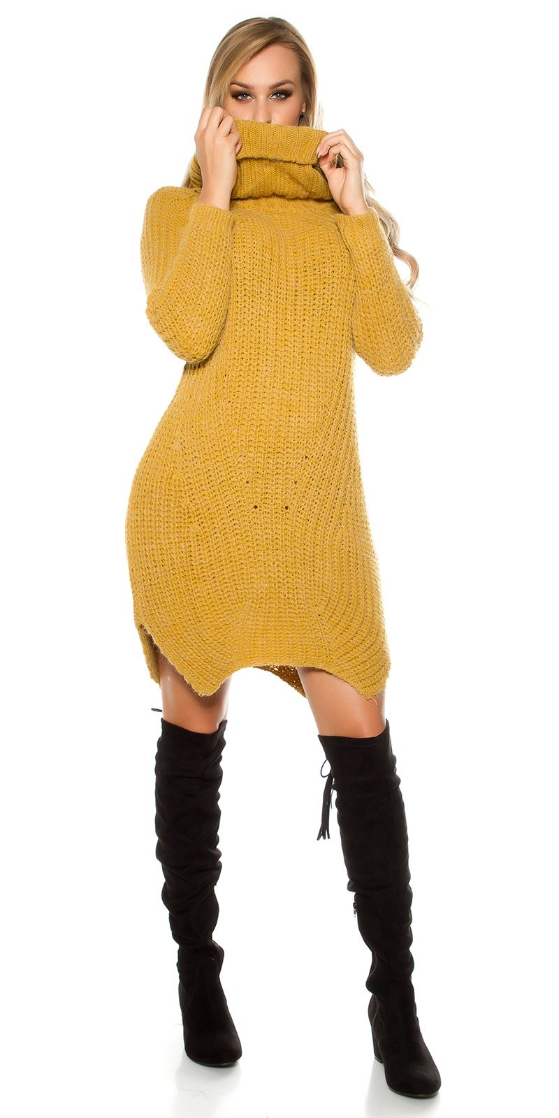 Sexy XL turtleneck chunky knit mohair XL Pullover Mustard