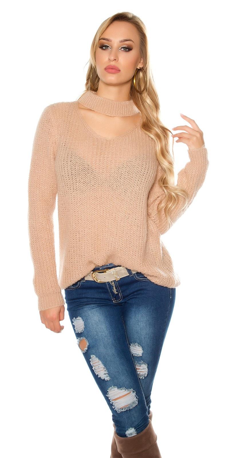 Trendy xl grof gebreide mohair sweater-trui met uitsparing antiekroze