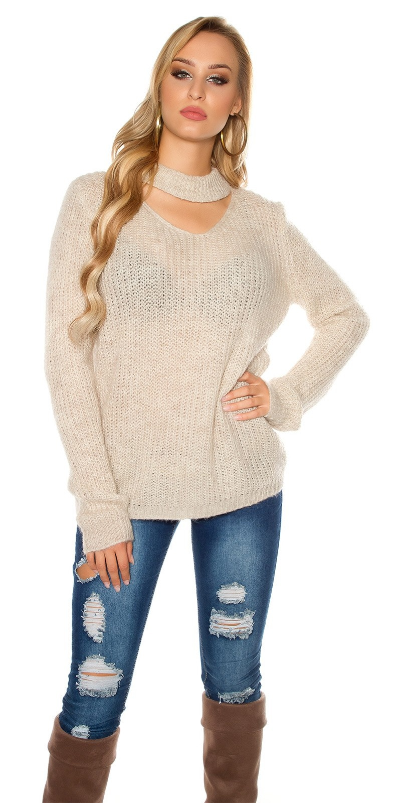 Trendy xl grof gebreide mohair sweater-trui met uitsparing beige