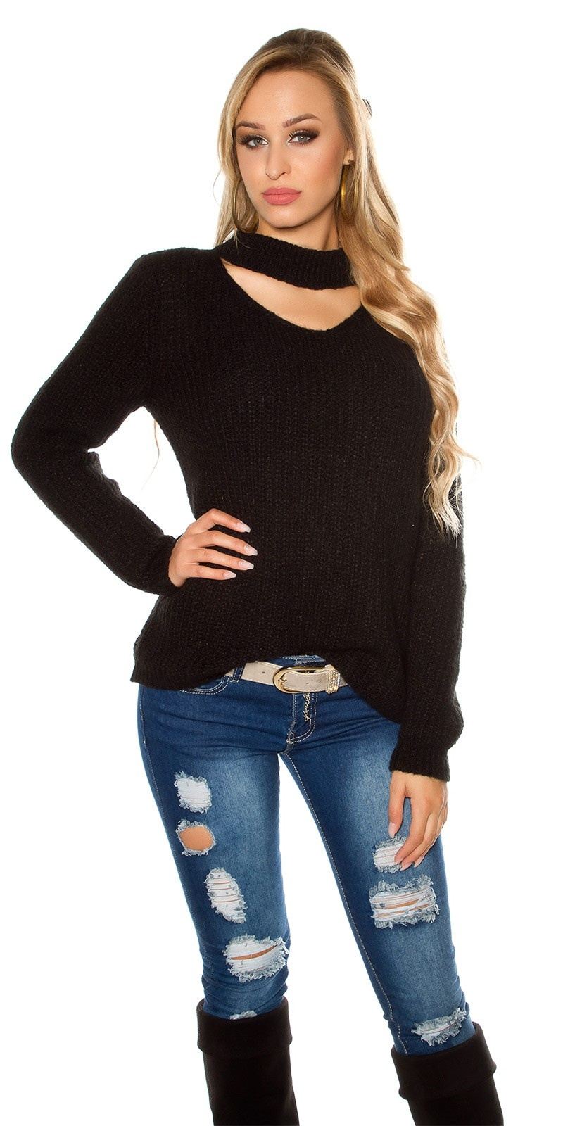 Trendy XL chunky knit mohair sweater w. cut out Black