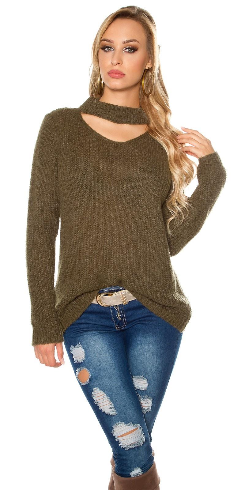 Trendy xl grof gebreide mohair sweater-trui met uitsparing khaki