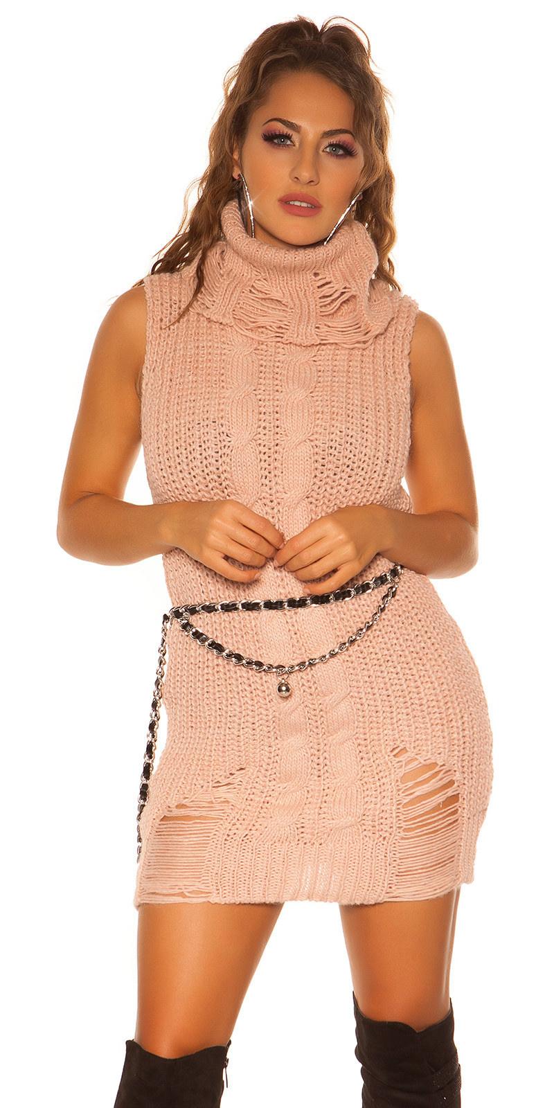 Trendy col gebreide mini jurkje - lange trui antiekroze